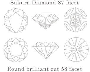 Decagon-shaped, eighty-seven facet and flower-shape cut diamond